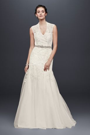 All Over Beaded Lace Trumpet Wedding Dress Davids Bridal