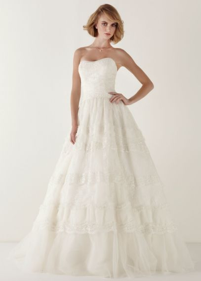 Strapless Lace Ballgown with Tiered Skirt MS251008