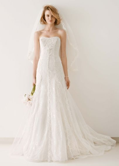 Tulle and Lace Gown with Overlay A-line Skirt MS251044