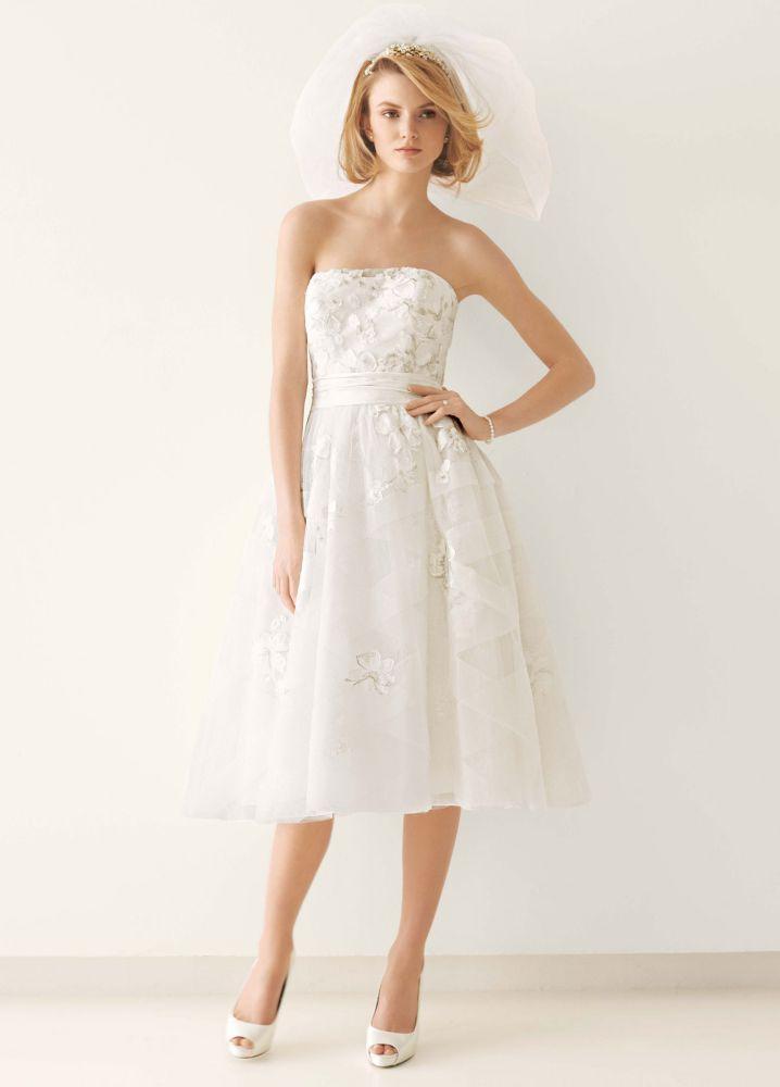 Melissa sweet tea length wedding dress with diagonal for Melissa sweet short wedding dress