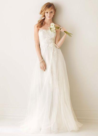 Vestido de Noiva Melissa Sweet plissadas com Tulle MS251062