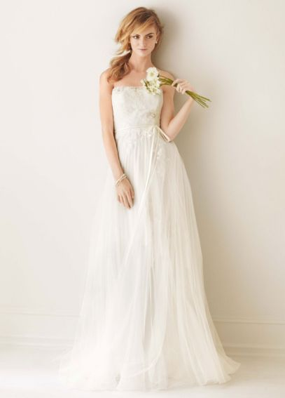 Strapless Pleated Organza Gown with Tulle Overlay MS251062