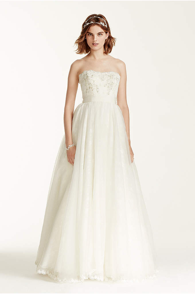 Melissa Sweet Wedding Dress with Floral Appliques - Classic silhouette with modern updates, this all over