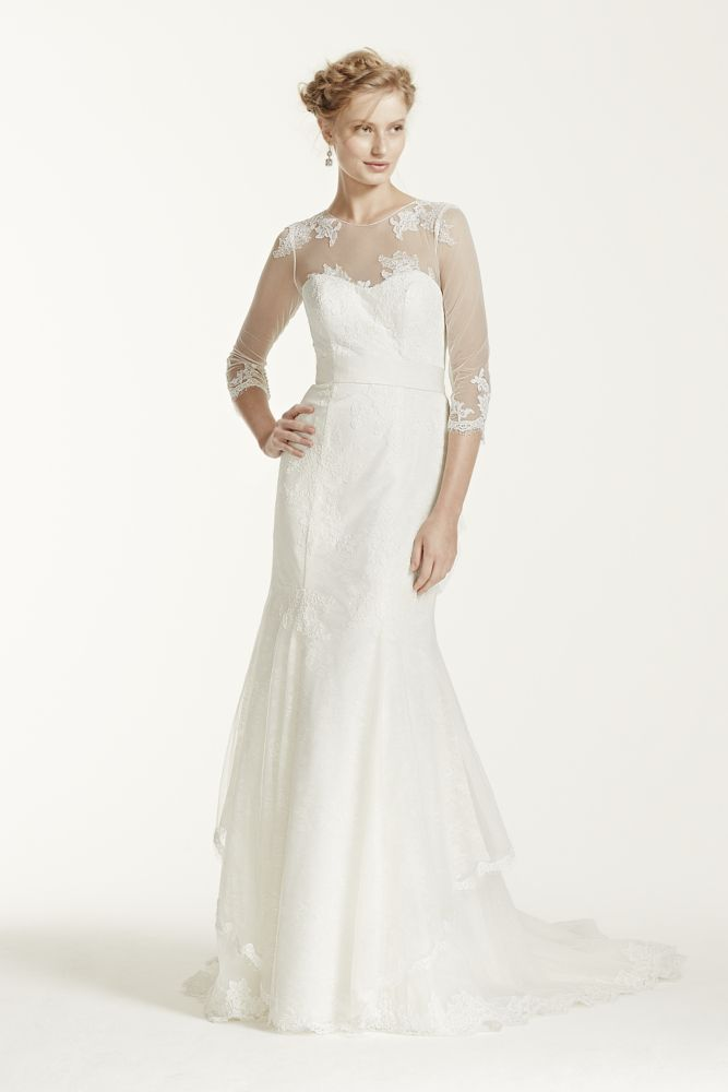 Melissa sweet chantilly lace trumpet wedding dress with for Wedding dress with illusion sleeves