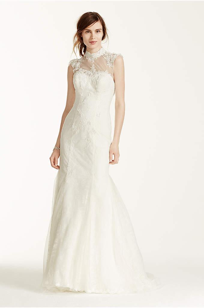 High low chantilly lace wedding dress davids bridal for High low wedding dress davids bridal