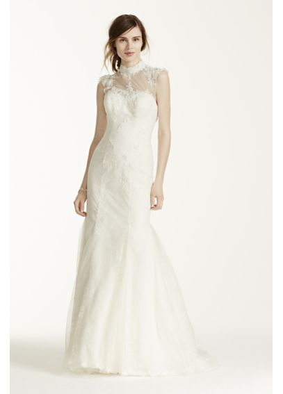 Chantilly Lace Gown with Tulle High Neck Detail MS251092