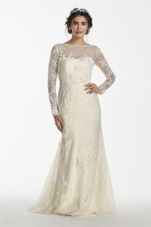 Ivory long sleeve lace wedding dress