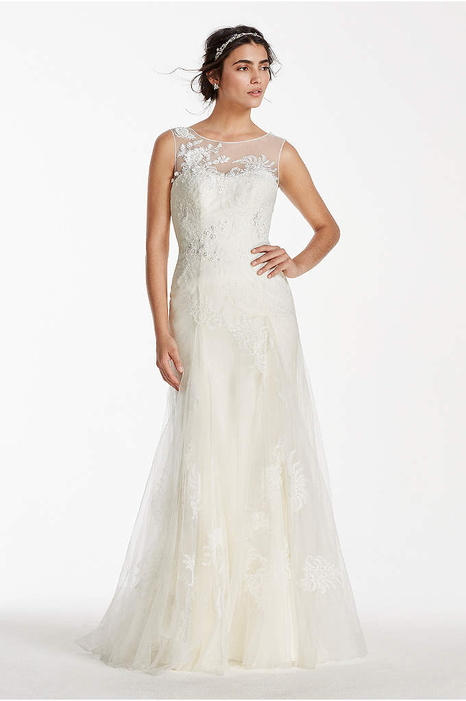 Melissa Sweet Tank Tulle Wedding Dress with Beads - Walk down the aisle in this breathtakingly romantic
