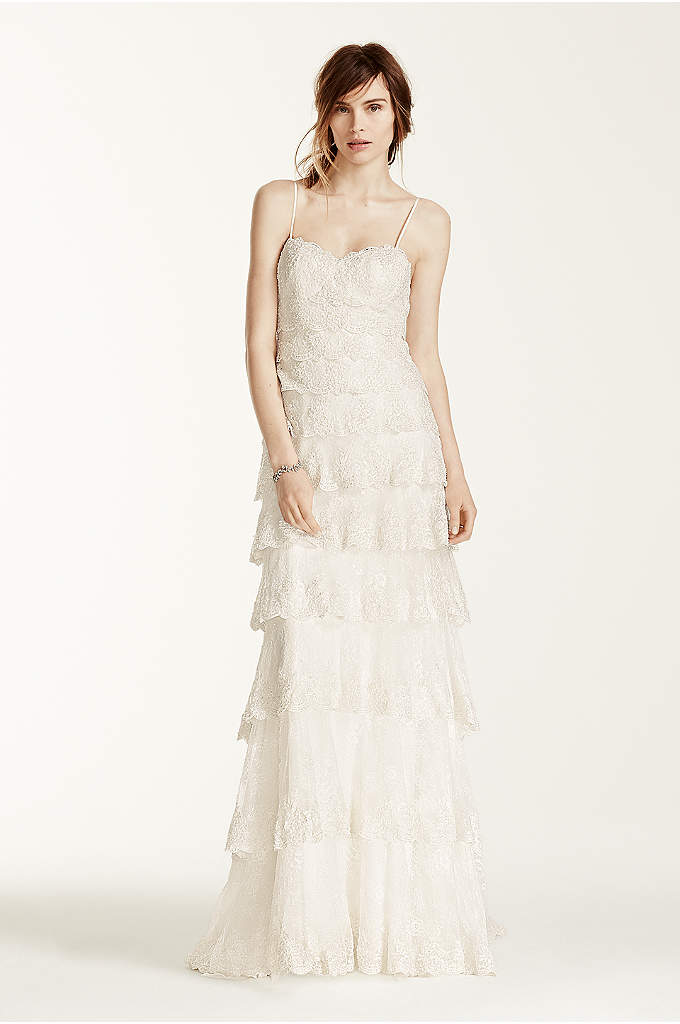 Melissa Sweet Beaded Tiered Lace Wedding Dress - Your guests won't be able to take their