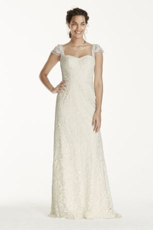 Wedding dress with cap sleeves and lace