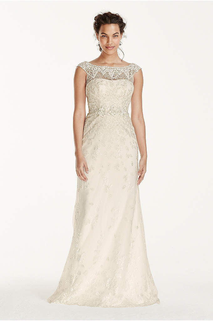 Melissa Sweet Illusion Sleeve Lace Wedding Dress - Adorned with lace appliques, this vintage-inspired cap sleeve
