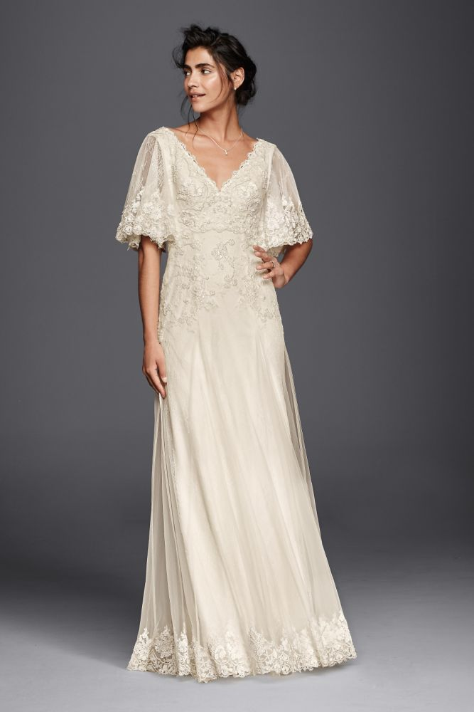 Melissa Sweet Wedding Dress With Flutter Sleeves Style Ms251133 Ebay