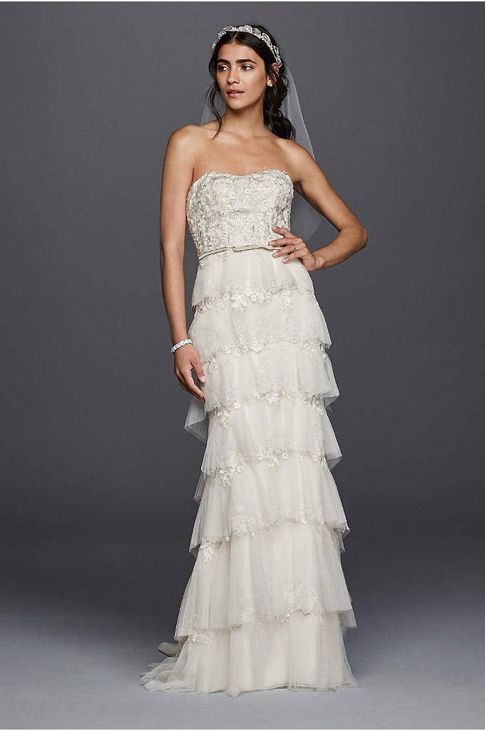 Melissa Sweet Wedding Dress with Tiered Skirt - Tiers of tulle add a romantic element to