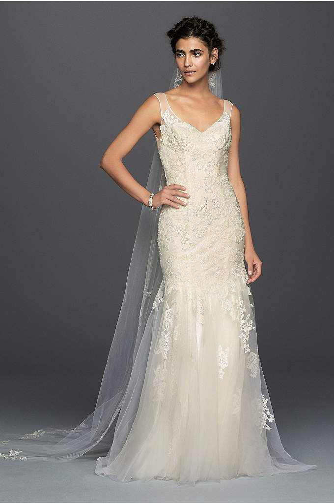Melissa Sweet Illusion Lace Mermaid Wedding Dress - Softness and femininity reign in this dreamy lace