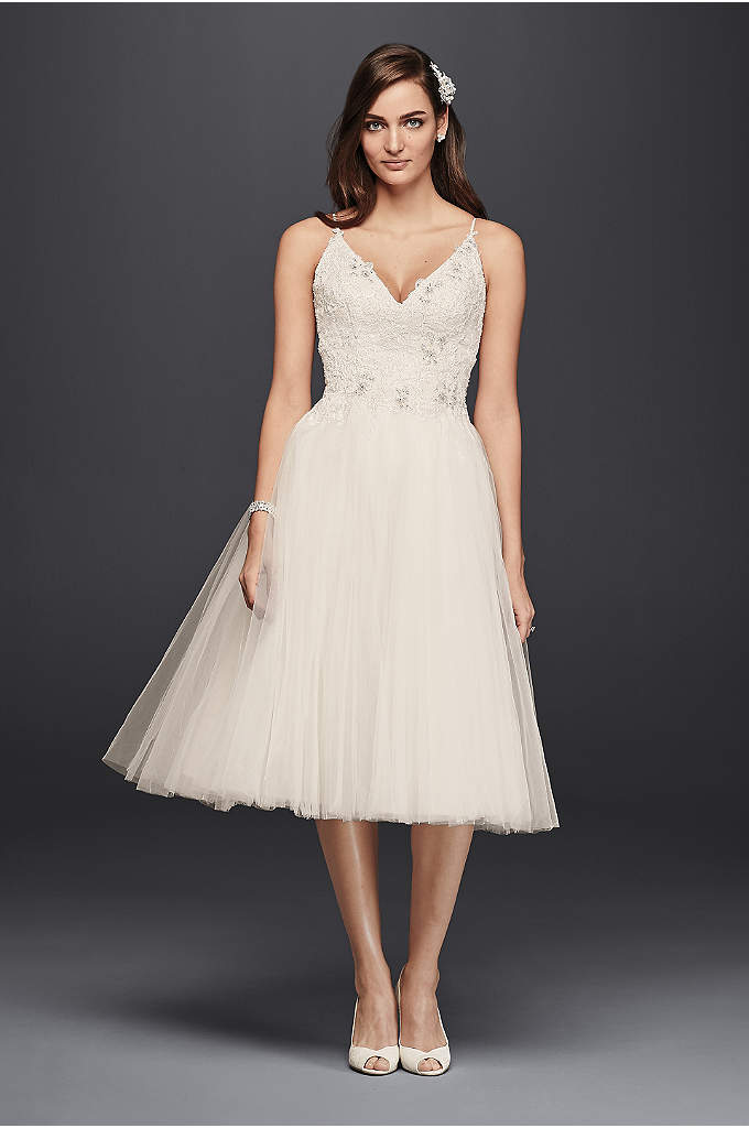 Melissa Sweet Short Tulle V-Neck Wedding Dress - This short tulle wedding dress defines ballerina chic.