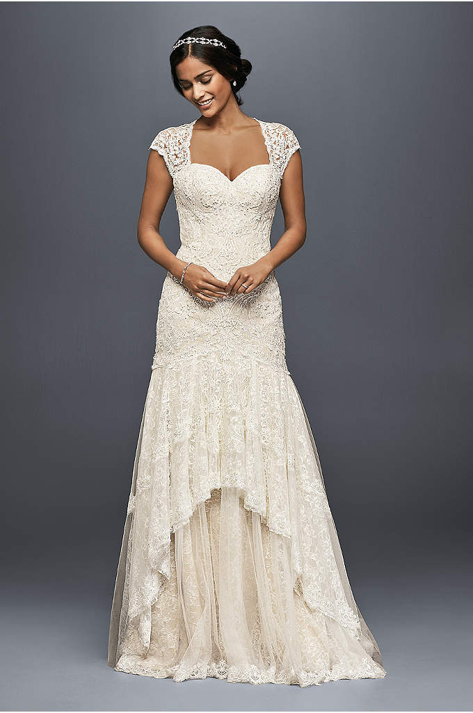 Lace sheath wedding dress with plunging neckline davids for David bridal lace wedding dresses