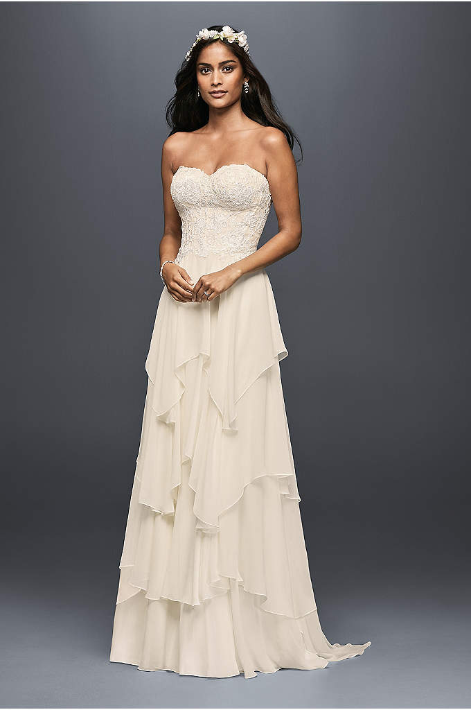 Tiered Chiffon A-Line Wedding Dress - You will float down the aisle in this