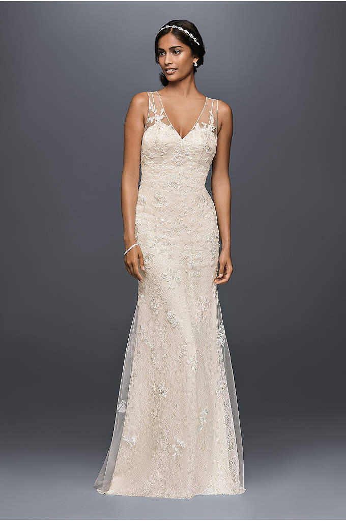 Appliqued Tulle Sheath Wedding Dress - A slip-like lace sheath dress, veiled with appliqued,
