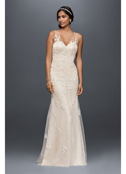 Appliqued tulle sheath wedding dress david 39 s bridal for Paying for a wedding dress
