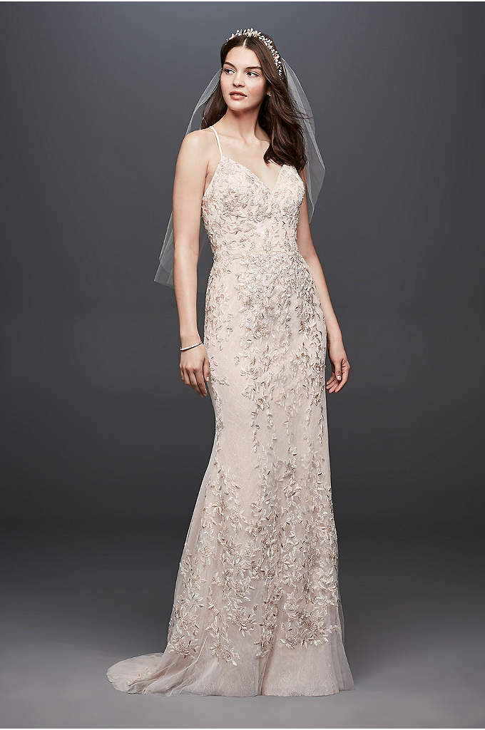 Embroidered and Beaded Lace Sheath Wedding Dress