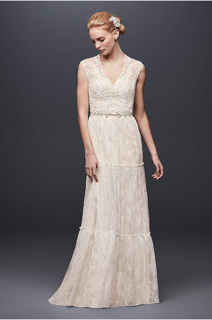 Chantilly Lace Cap-Sleeve Sheath Wedding Dress - This easy-to-wear, chantilly lace sheath features an airy