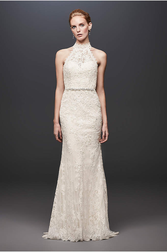 Lace High-Neck Halter Sheath Wedding Dress - This high-neck halter wedding dress is a fresh