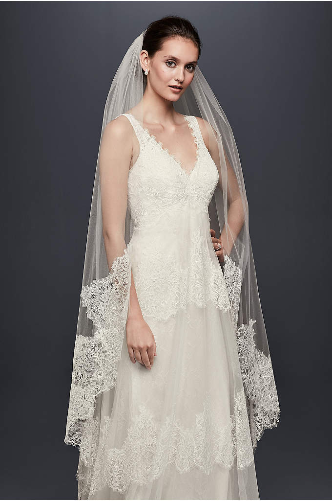 Eyelash Lace-Edge Walking Veil - Beautiful eyelash lace creates a soft but dramatic