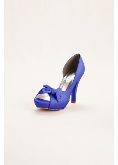 Satin Peep Toe Platform High Heel with Bow Detail Maribelle