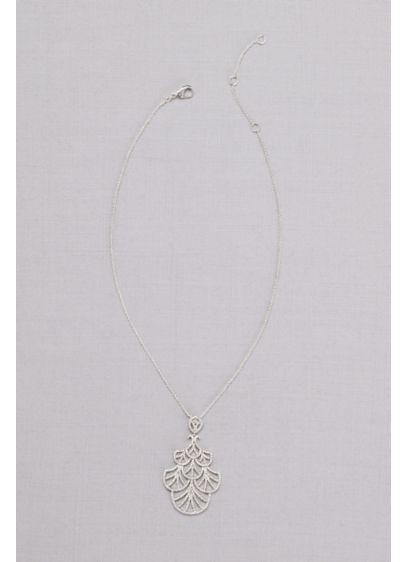 Mini Crystal Fan Pendant Necklace - Wedding Accessories
