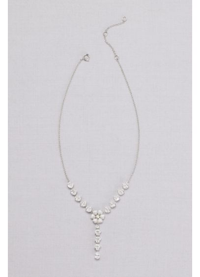 Y-Neck Crystal-Dusted Flower Necklace - Wedding Accessories