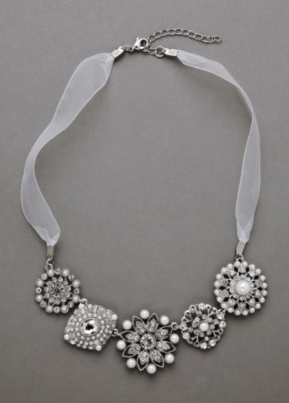 Organza and Pearl Mixed Media Necklace N132377