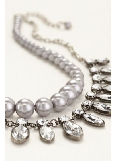 Two Row Pearls and Rhinestone Necklace - Wedding Accessories