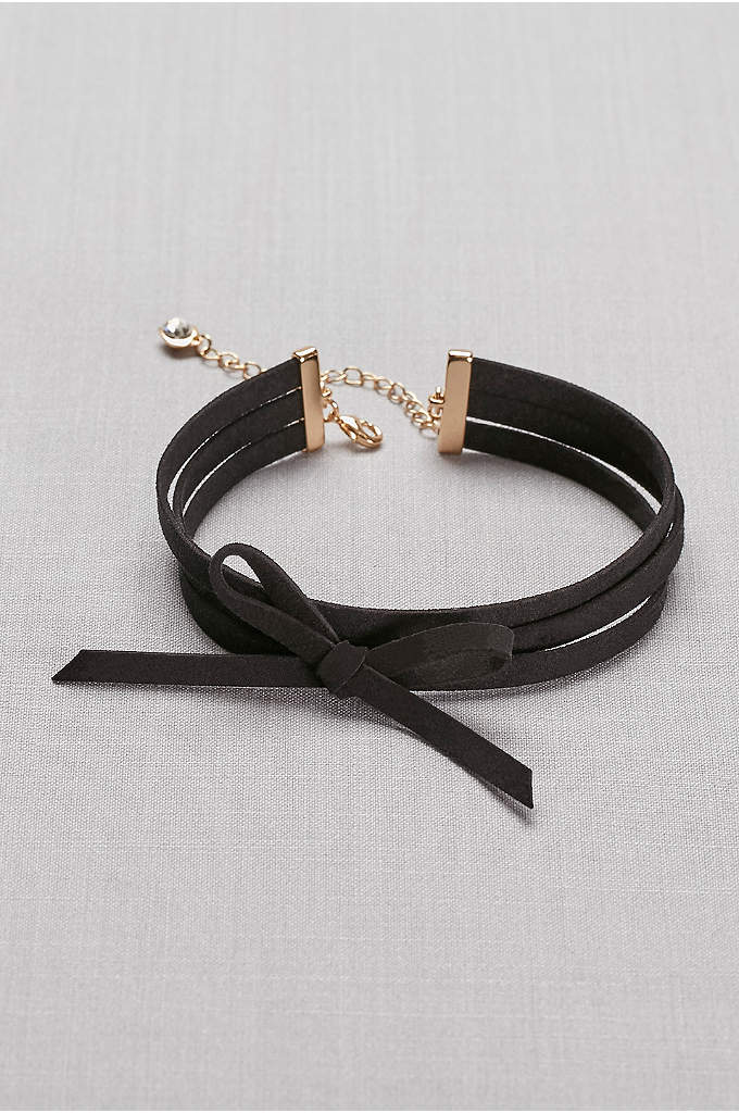 Bow-Tied Faux-Suede Choker - With a wrap-around look and a bow accent,