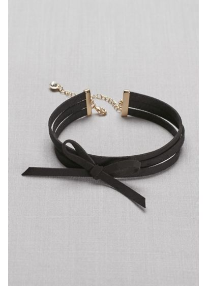 Bow-Tied Faux-Suede Choker - Wedding Accessories