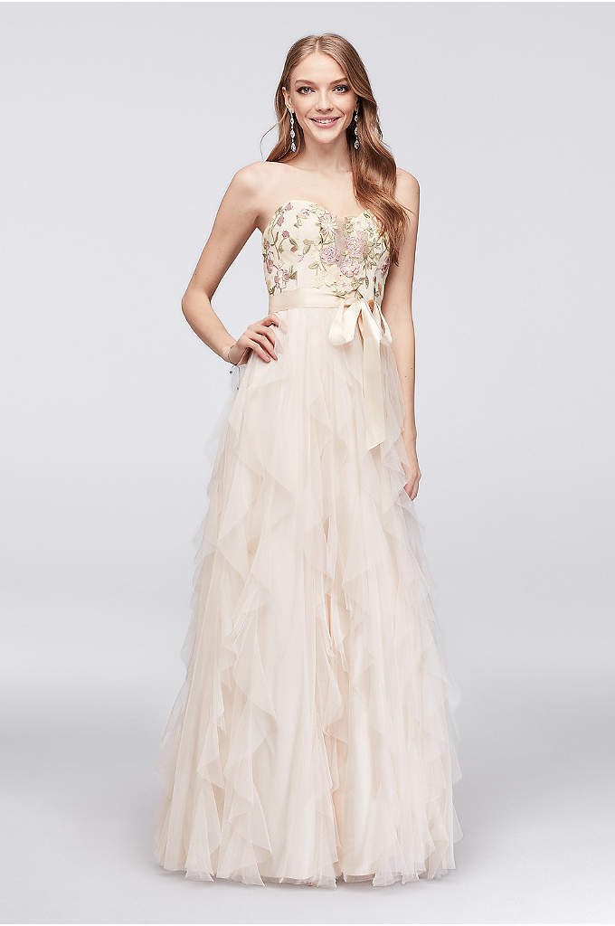 Embroidered A-Line Gown with Vertical Ruffle Skirt - Floral embroidery beautifies the illusion-plunge sweetheart bodice of