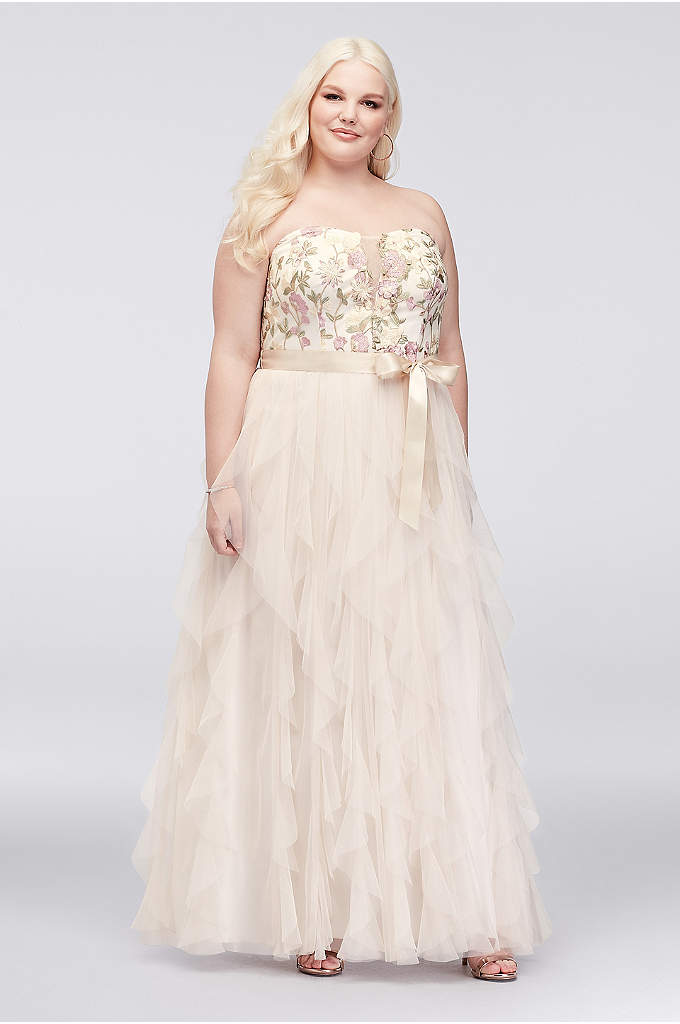 Embroidered Plus Size Gown with Ruffle Skirt - Floral embroidery beautifies the illusion-plunge sweetheart bodice of