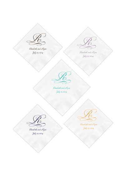 Personalized Initial White or Ecru Beverage Napkin - Wedding Gifts & Decorations