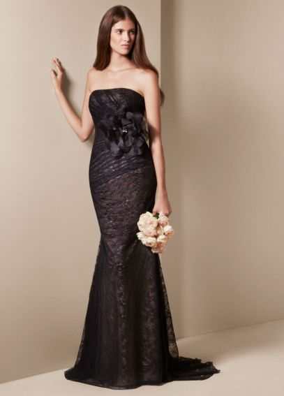 Strapless Draped Lace Column Gown NATALIE