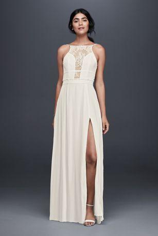 Plunge neck long dress