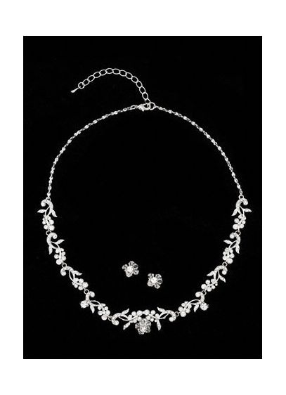Crystal and silver necklace and earring set. - Wedding Accessories