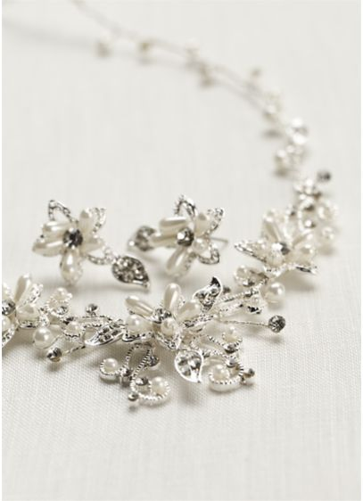 Crystal and Pearl Floral Necklace and Earring Set. - Wedding Accessories