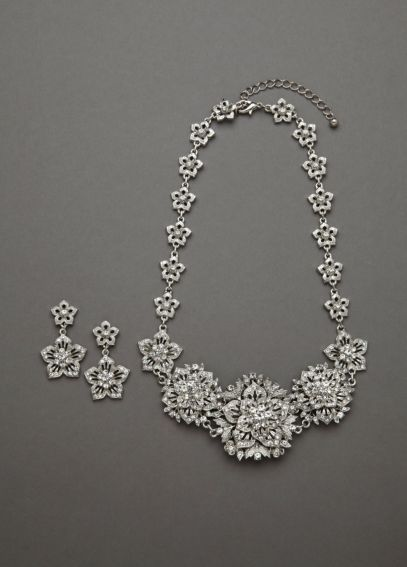 Bold Crystal Flower Necklace and Earring Set NE14674