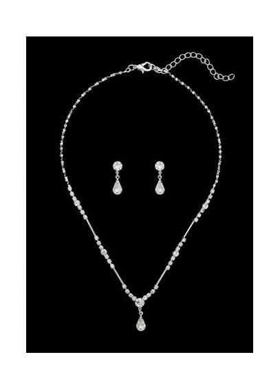Silver Crystal Drop Necklace and Earring Set NE18-7290/SI