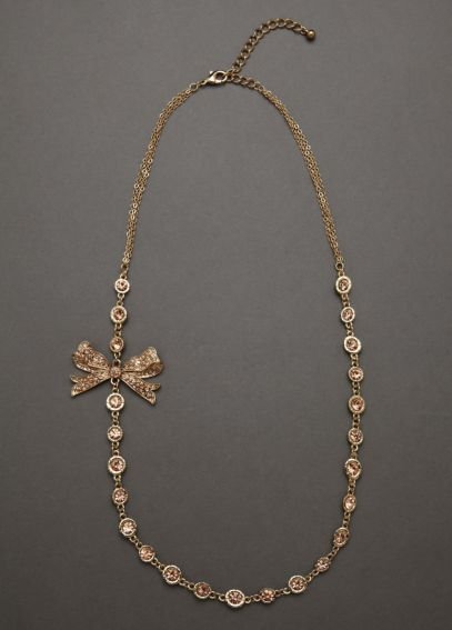 Gold Necklace with Colored Stone Detail and Bow NE5131