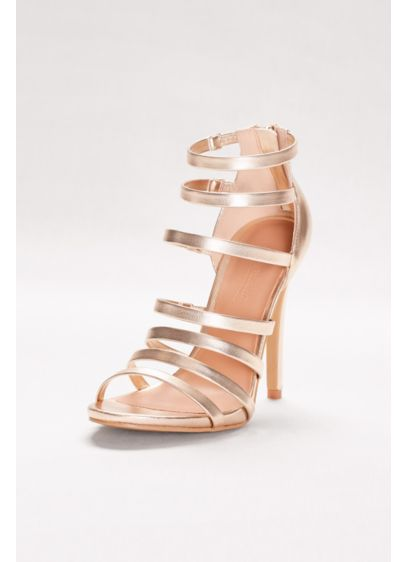 Strappy Metallic Heels - Davids Bridal