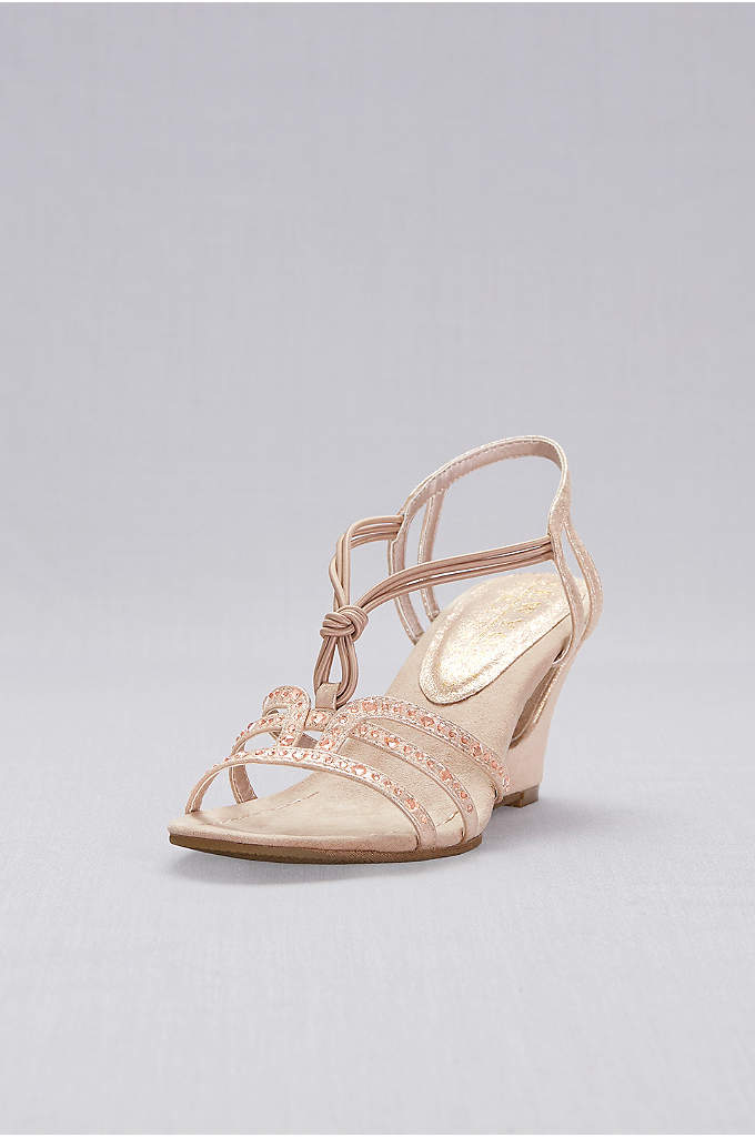 Crystal-Studded Cutout Wedges with Knotted Vamp - The knotted vamp and crystal studded straps of