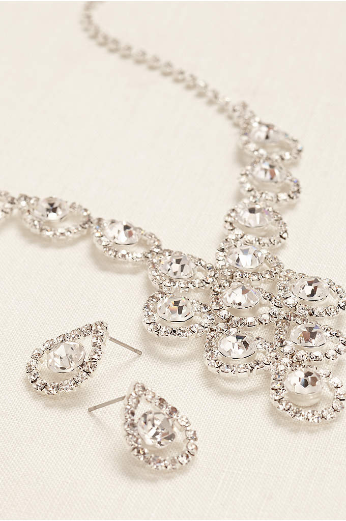 Tear Drop Pave Necklace and Earring Set - Glittering and alluring best describes this lovely tear
