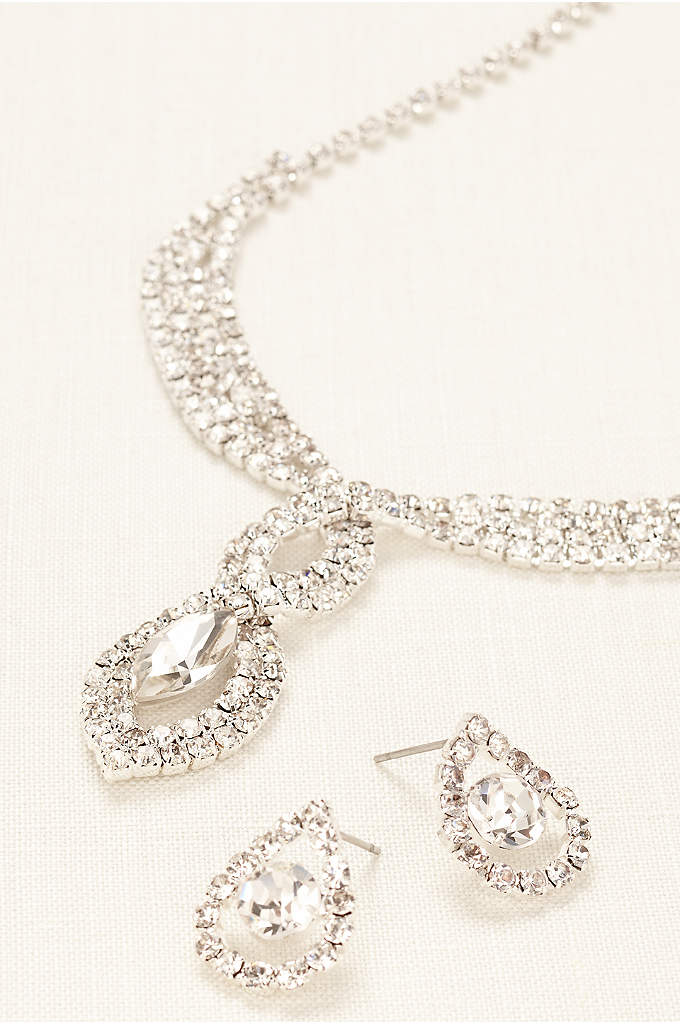 Woven Pave Crystal Necklace and Earring Set - Channel movie star glamour in this dazzling woven