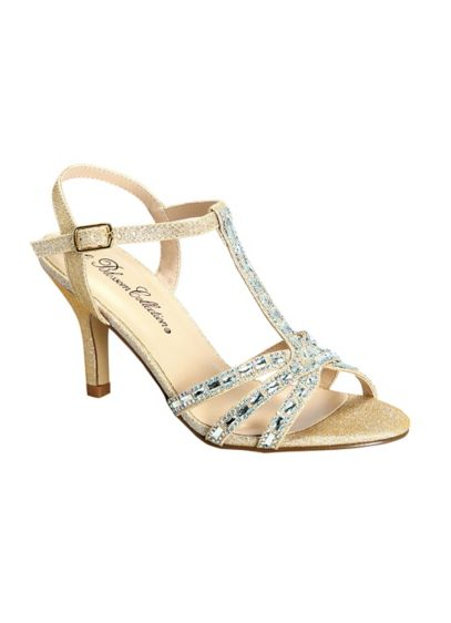 Blossom Grey (T-Strap Heels with Baguette Crystals)