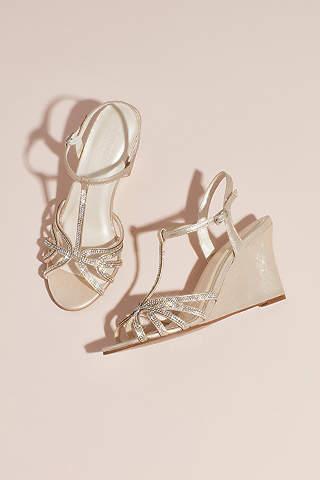 Davids Bridal Ivory Wedge Shoes Metallic Crystal T Strap Wedges